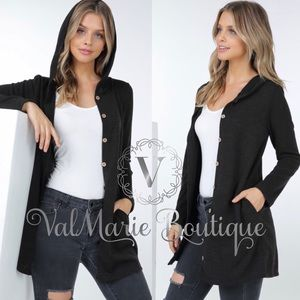 Button down hooded women's cardigan black